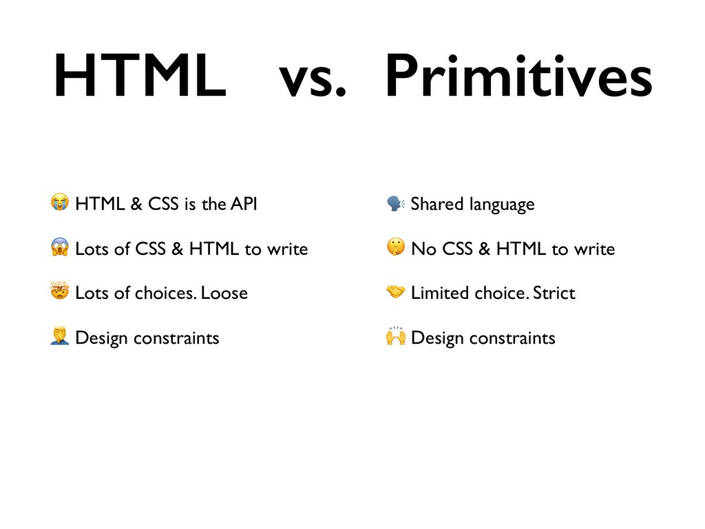 HTML & CSS is the API  Lots of CSS & HTML to w...