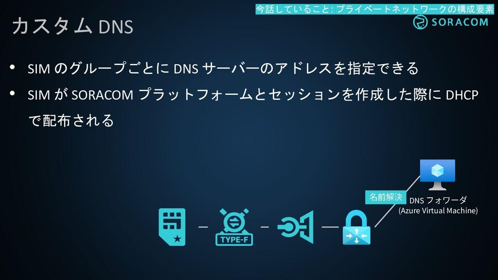 • SIM のグループごとに DNS サーバーのアドレスを指定できる • SIM が SORA...