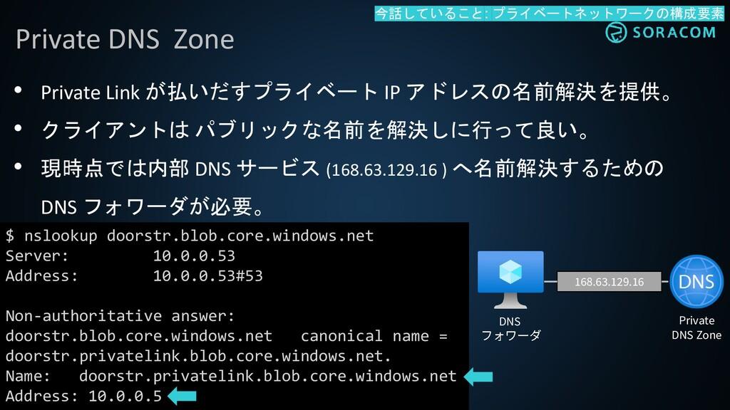 • Private Link が払いだすプライベート IP アドレスの名前解決を提供。 • ク...