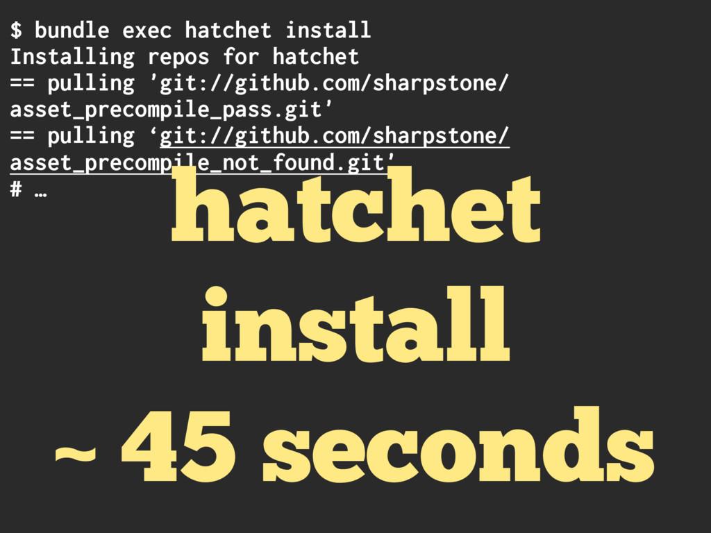 $ bundle exec hatchet install Installing repos ...