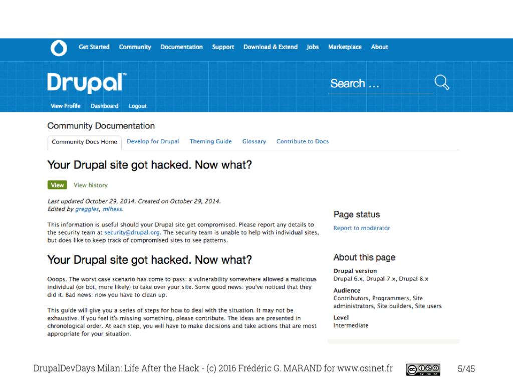 5/45 DrupalDevDays Milan: Life After the Hack -...