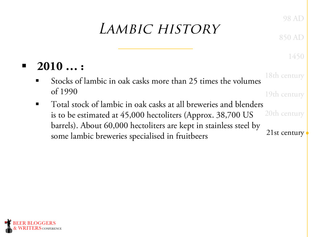 Lambic history § 2010 … : § Stocks of lambic in...