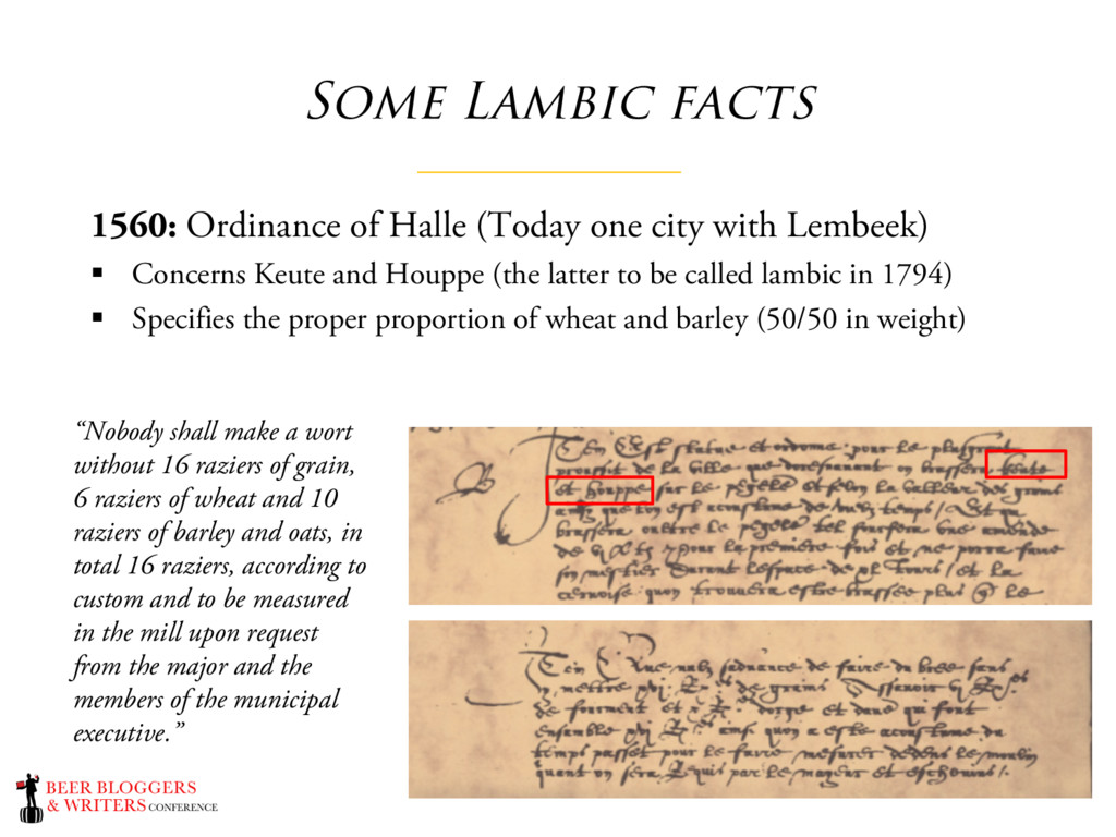 Some Lambic facts 1560: Ordinance of Halle (Tod...