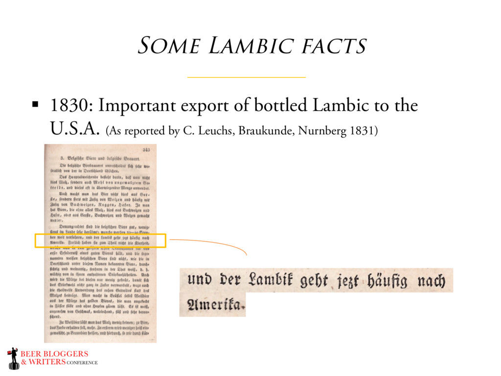 Some Lambic facts § 1830: Important export of b...
