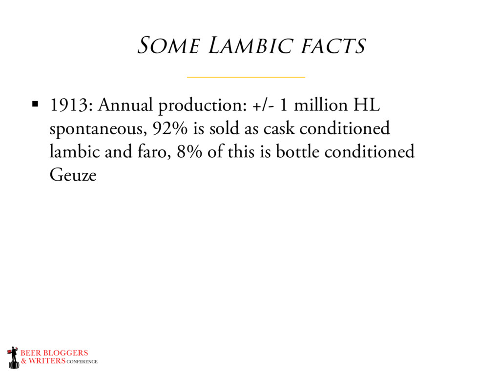 Some Lambic facts § 1913: Annual production: +/...