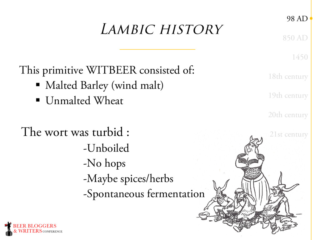 Lambic history This primitive WITBEER consisted...