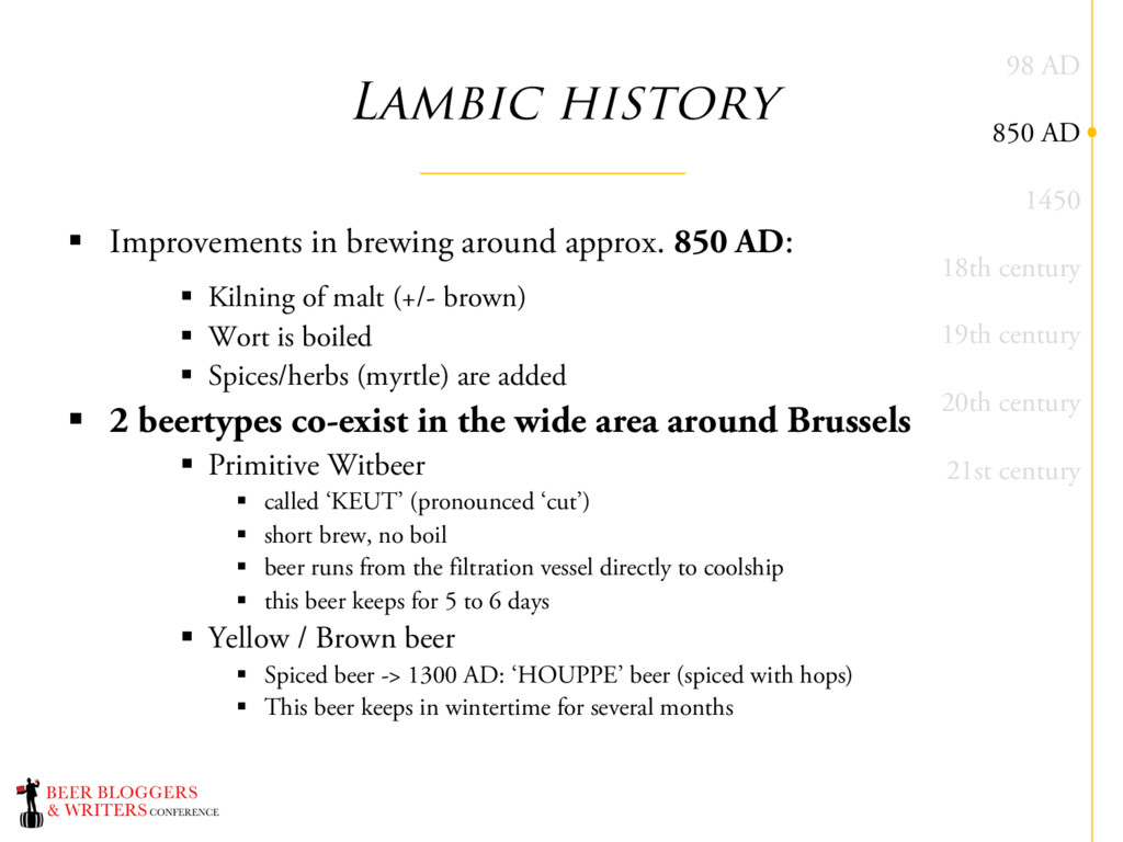 Lambic history § Improvements in brewing around...
