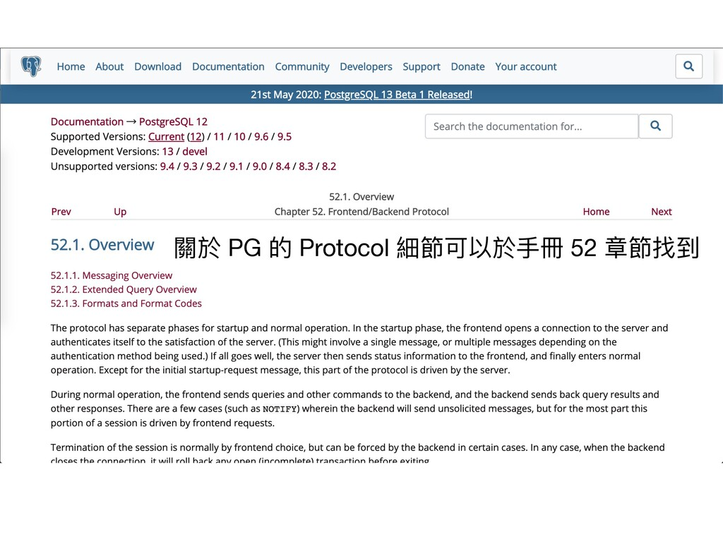 關於 PG 的 Protocol 細節可以於⼿冊 52 章節找到