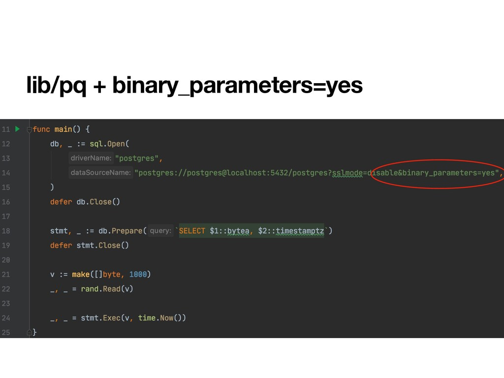 lib/pq + binary_parameters=yes