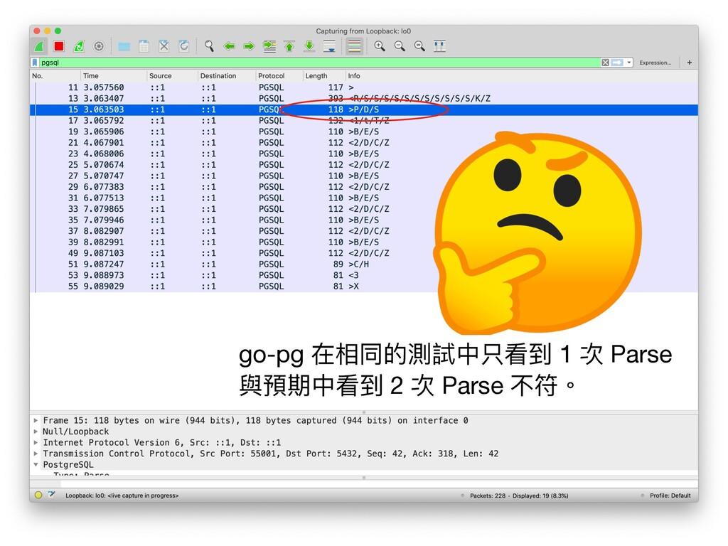 go-pg 在相同的測試中只看到 1 次 Parse 與預期中看到 2 次 Parse 不符。