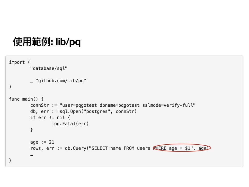 使⽤範例: lib/pq