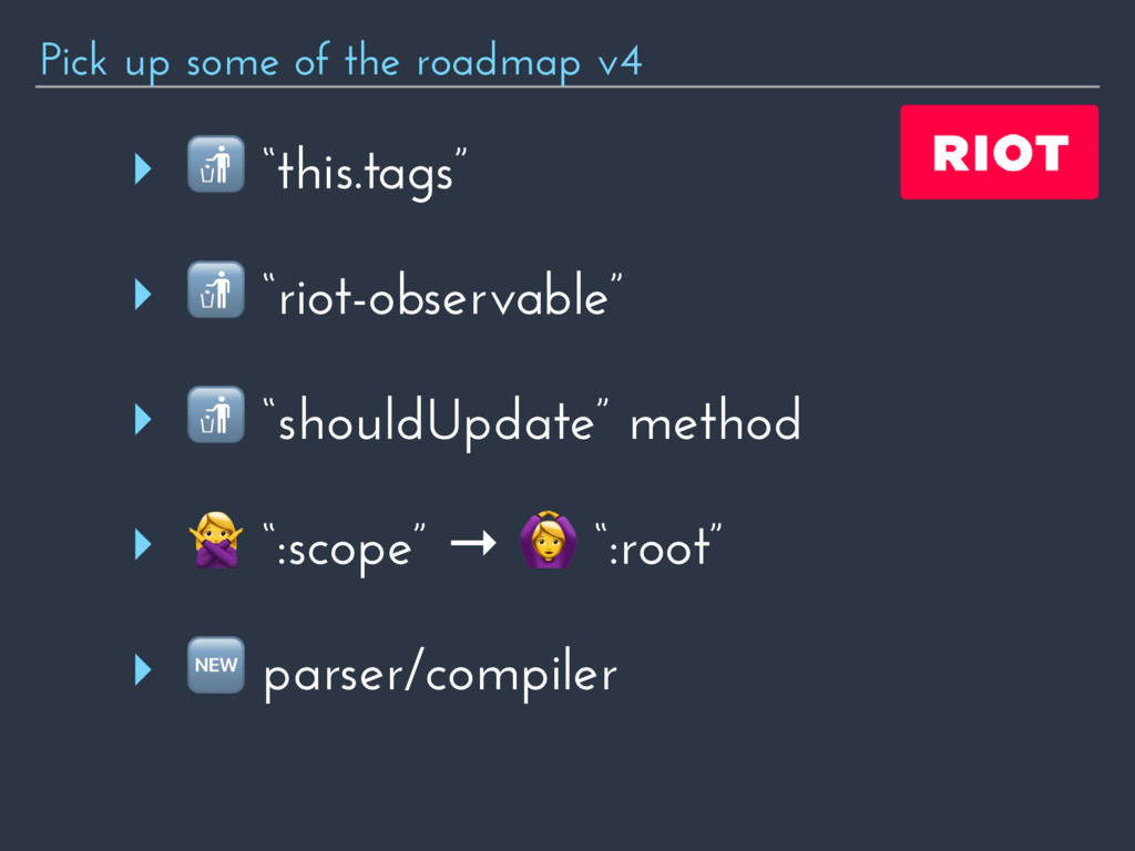 """Pick up some of the roadmap v4 ‣  """"this.tags"""" ‣..."""