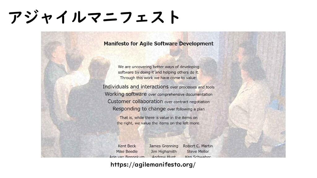 https://agilemanifesto.org/ アジャイルマニフェスト
