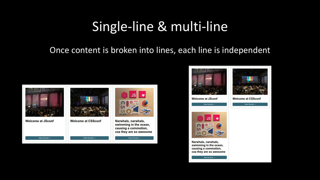 Single-line & multi-line Once content is broken...