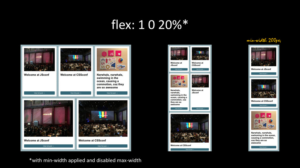 flex: 1 0 20%* *with min-width applied and disa...
