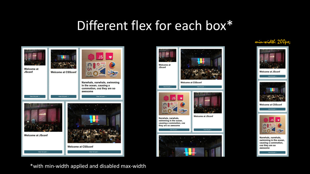 Different flex for each box* min-width: 200px; ...