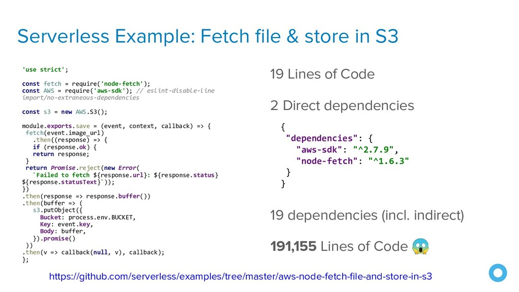 Serverless Example: Fetch file & store in S3 'us...