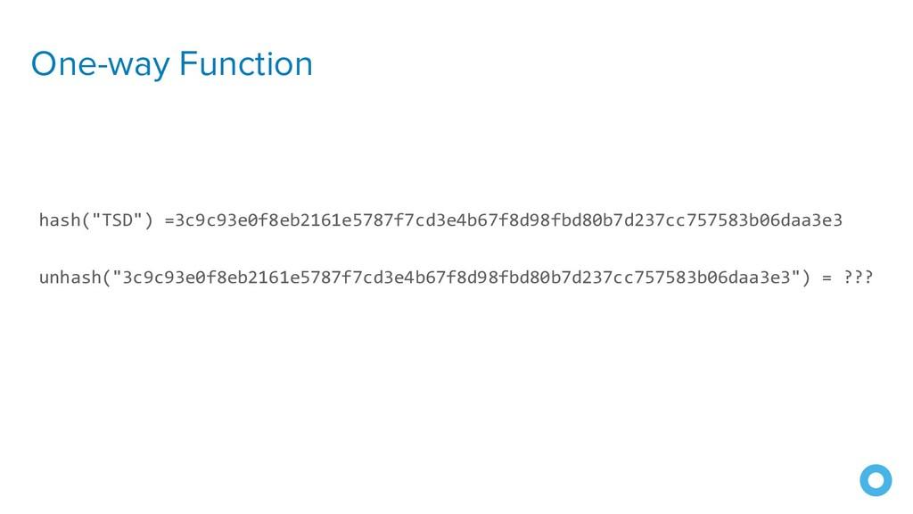 "One-way Function hash(""TSD"") =3c9c93e0f8eb2161e..."