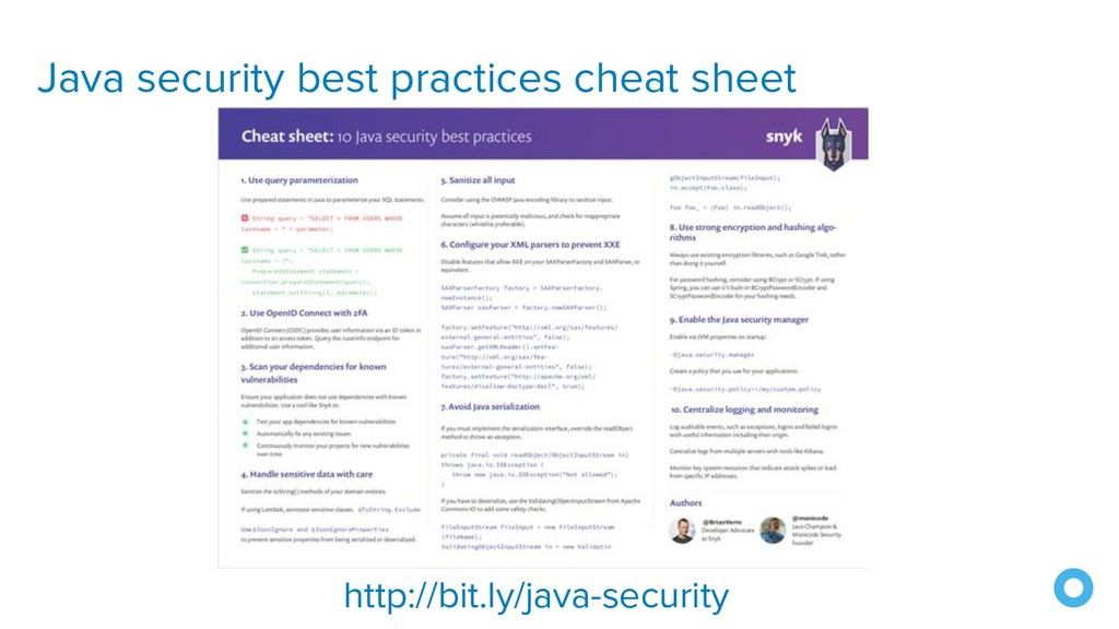 Java security best practices cheat sheet http:/...