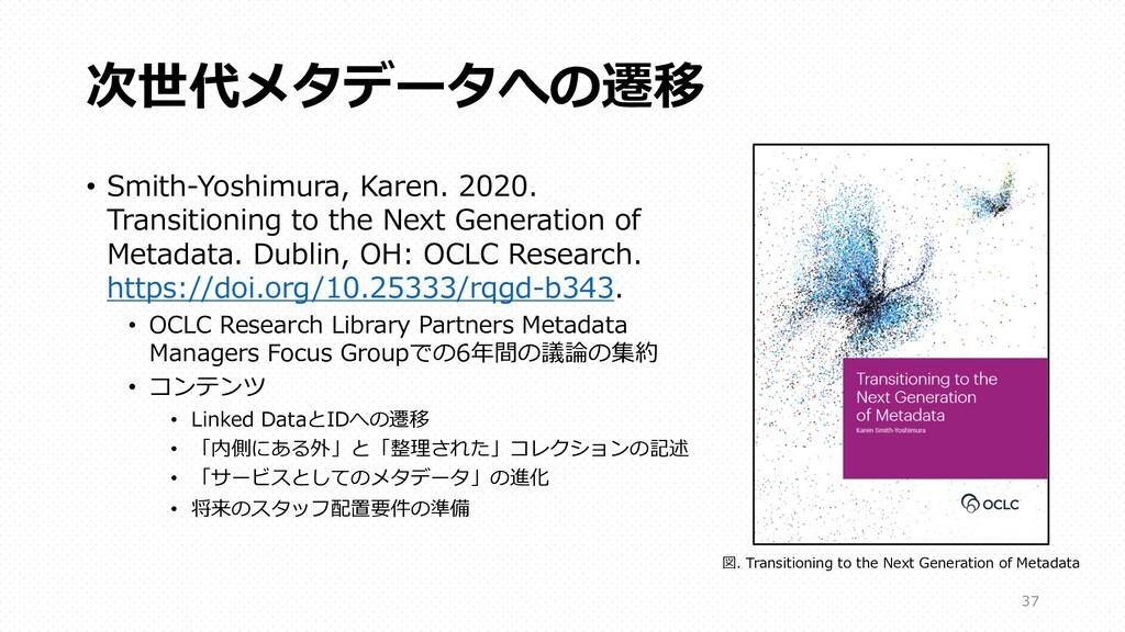 次世代メタデータへの遷移 • Smith-Yoshimura, Karen. 2020. Tr...