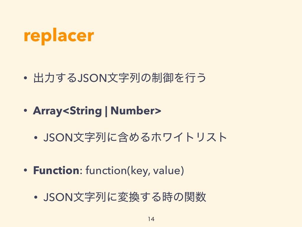 replacer • ग़ྗ͢ΔJSONจྻͷ੍ޚΛߦ͏ • Array<String | N...