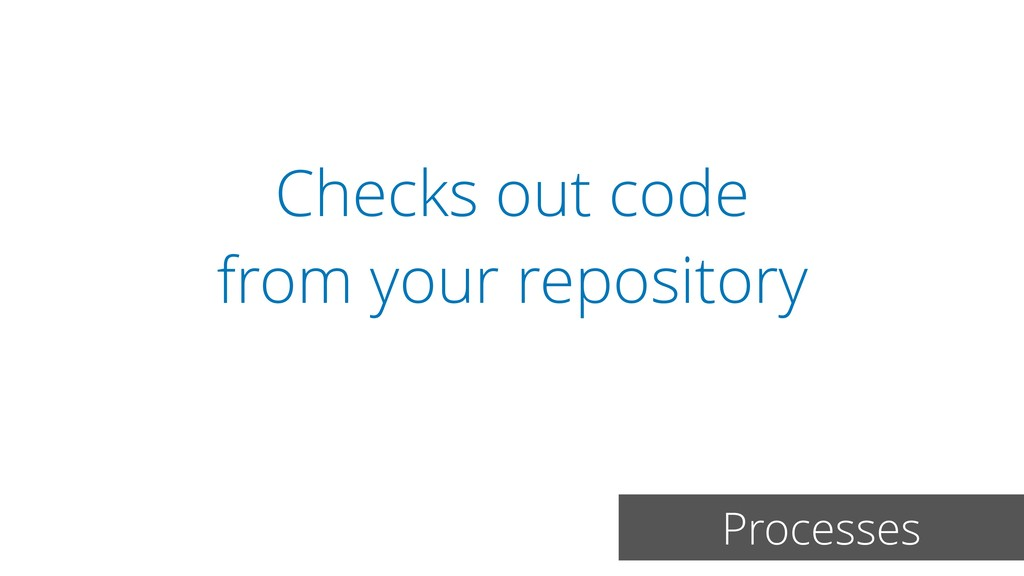 Checks out code from your repository Processes
