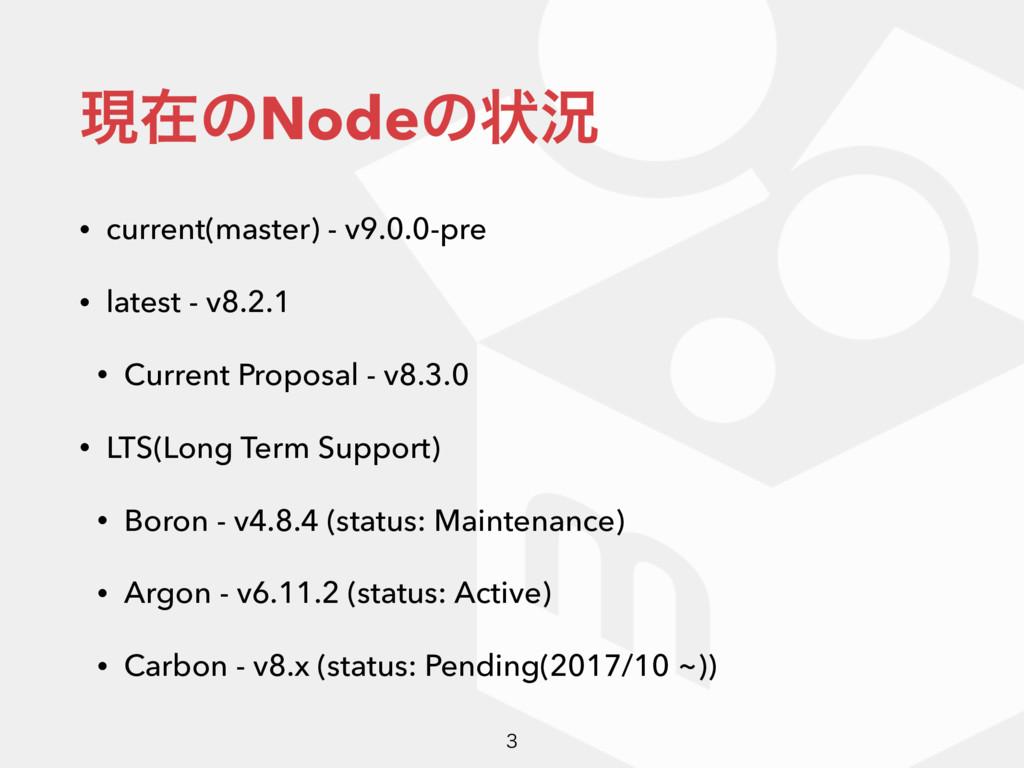 ݱࡏͷNodeͷঢ়گ • current(master) - v9.0.0-pre • lat...