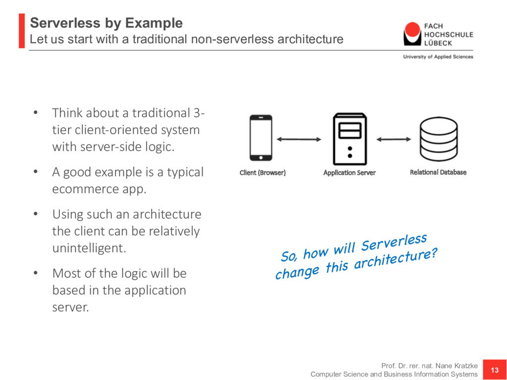 Serverless by Example Let us start with a tradi...