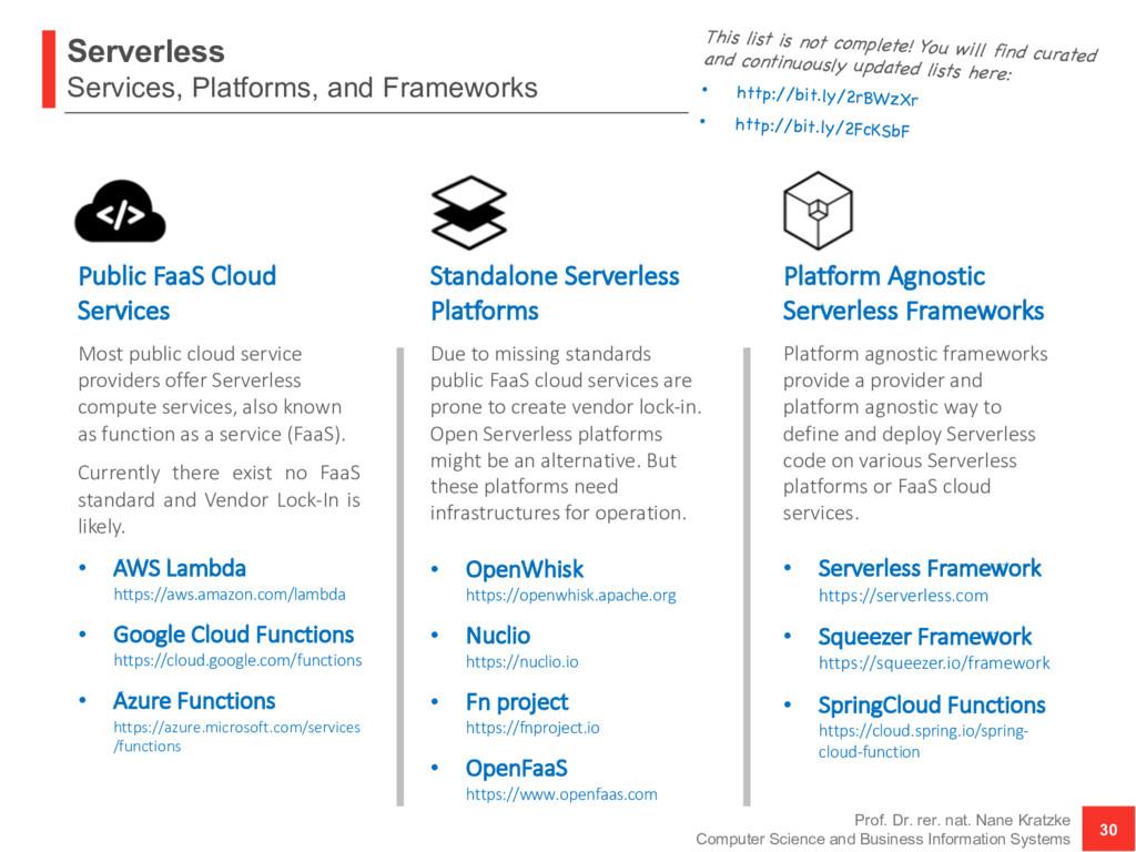 Serverless Services, Platforms, and Frameworks ...
