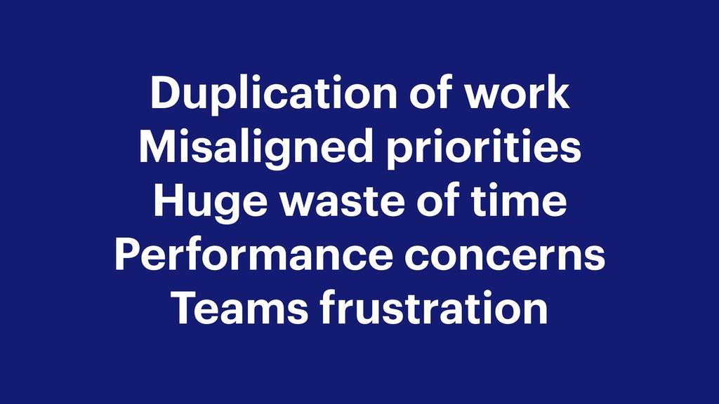 Duplication of work Misaligned priorities Huge ...