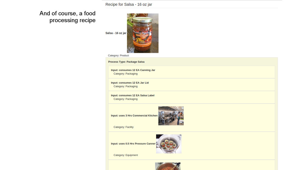 And of course, a food processing recipe