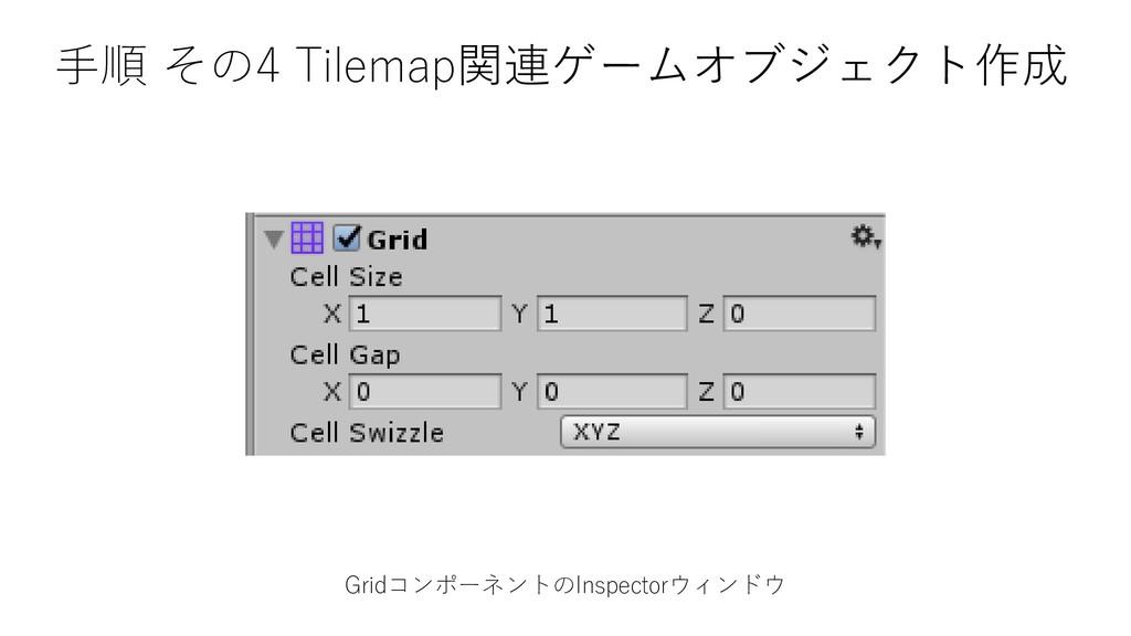 GridコンポーネントのInspectorウィンドウ 手順 その4 Tilemap関連ゲームオ...