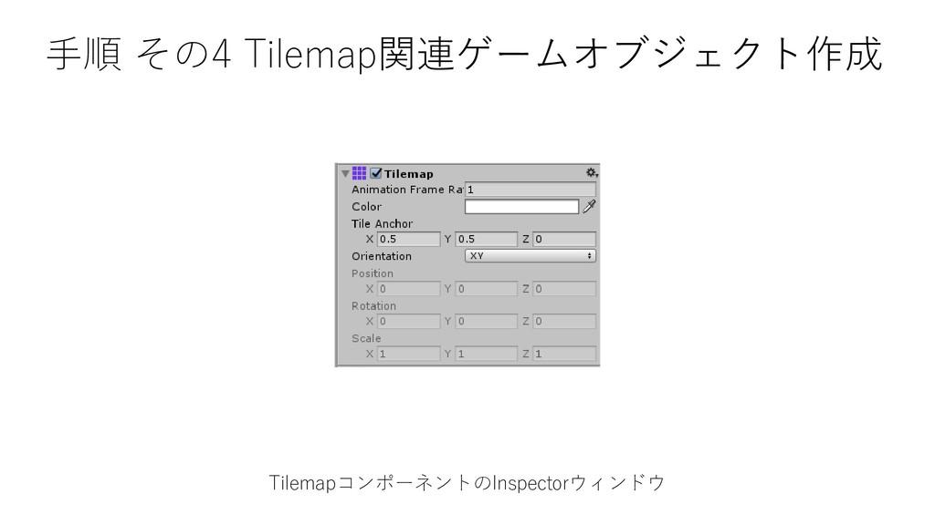 TilemapコンポーネントのInspectorウィンドウ 手順 その4 Tilemap関連ゲ...