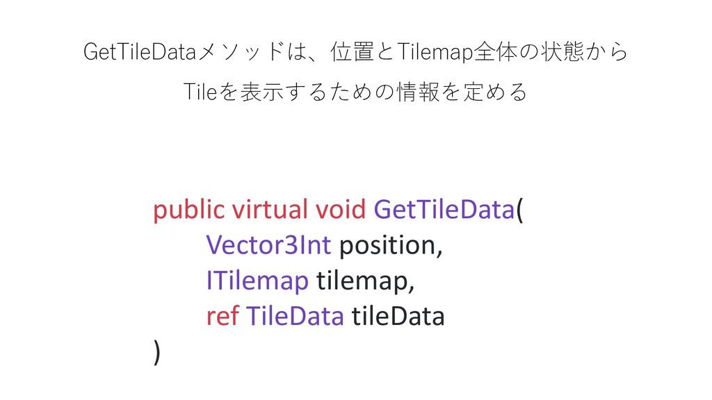 GetTileDataメソッドは、位置とTilemap全体の状態から Tileを表示するための...