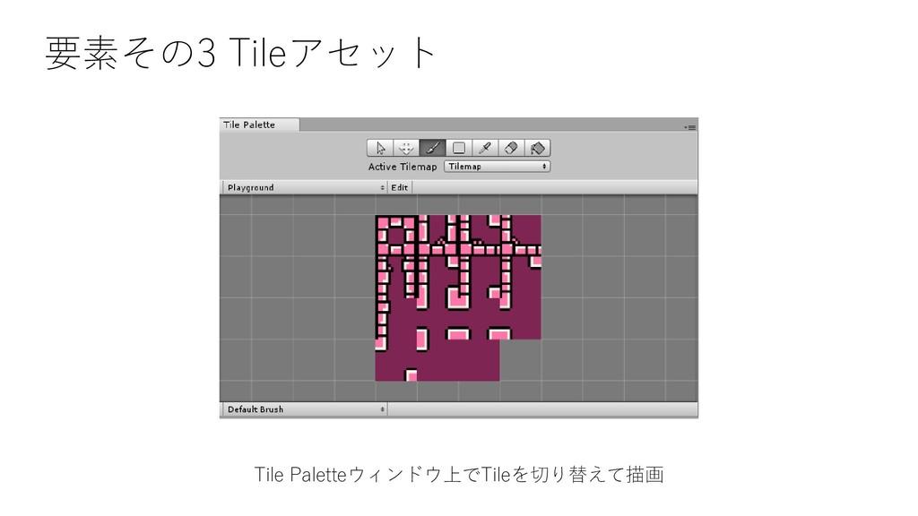 要素その3 Tileアセット Tile Paletteウィンドウ上でTileを切り替えて描画