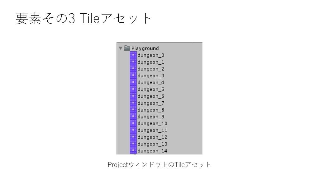 要素その3 Tileアセット Projectウィンドウ上のTileアセット