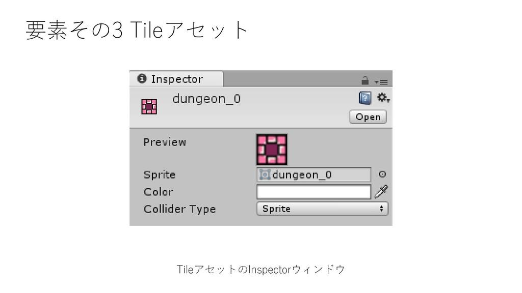 要素その3 Tileアセット TileアセットのInspectorウィンドウ