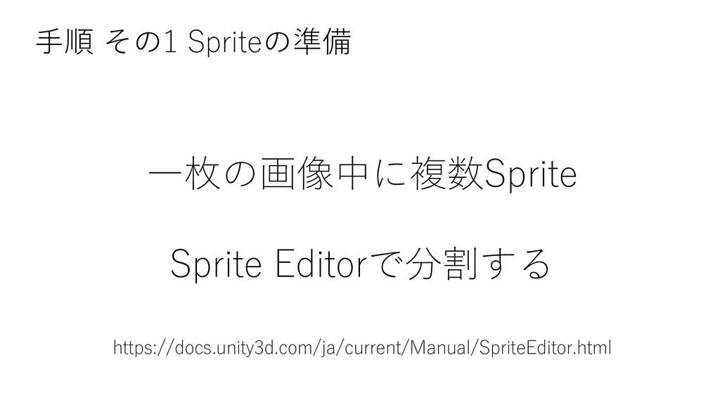一枚の画像中に複数Sprite Sprite Editorで分割する 手順 その1 Sprit...