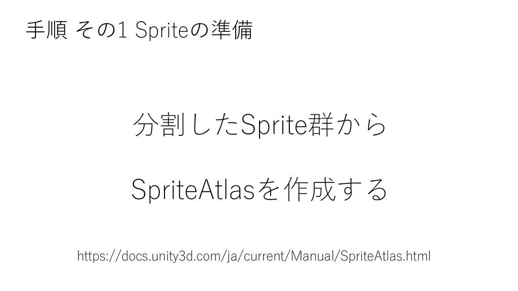 分割したSprite群から SpriteAtlasを作成する 手順 その1 Spriteの準備...