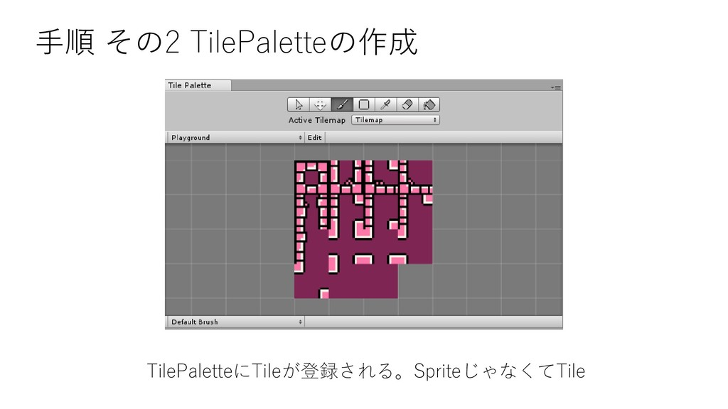 手順 その2 TilePaletteの作成 TilePaletteにTileが登録される。Sp...