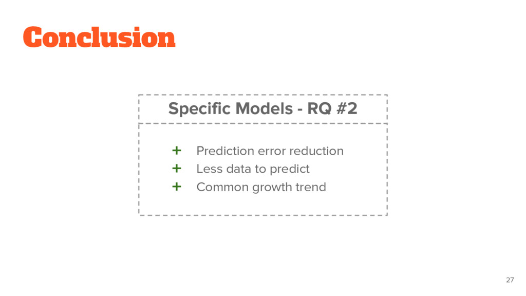 Conclusion ➕ Prediction error reduction ➕ Less ...
