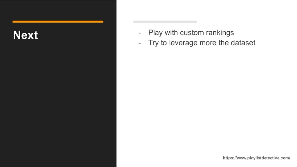Next - Play with custom rankings - Try to lever...