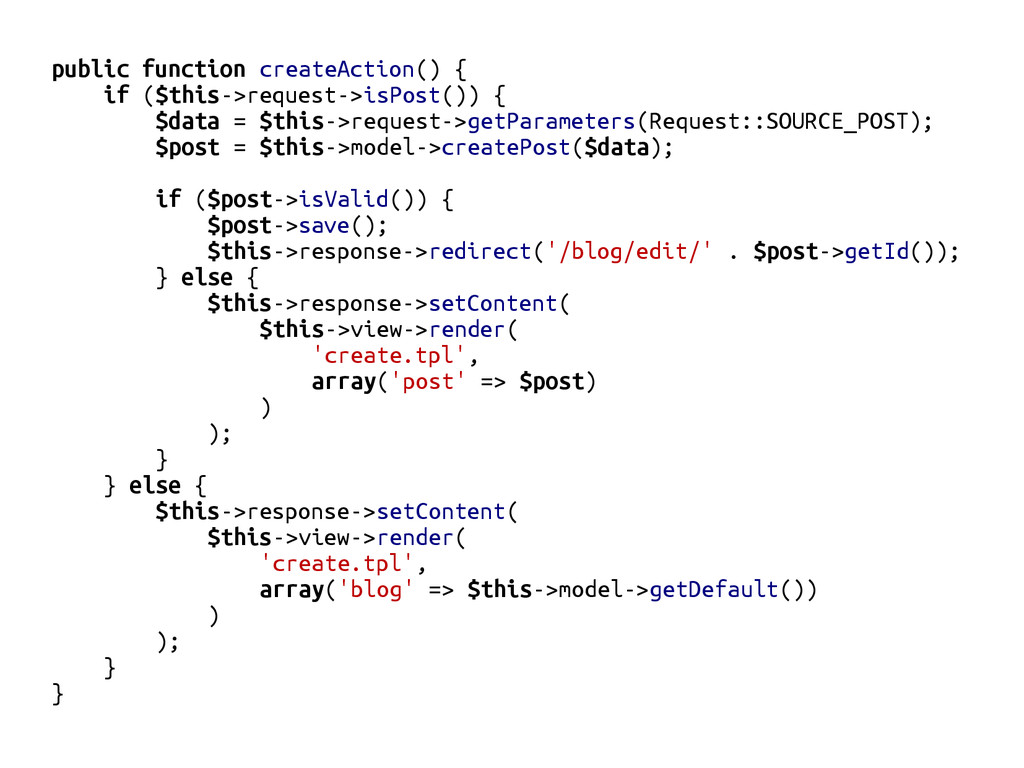 public function createAction() { if ($this->req...