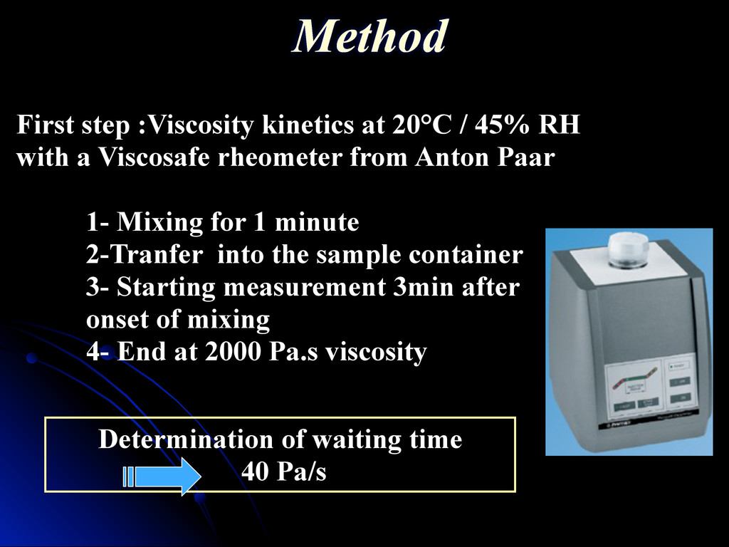 Determination of waiting time 40 Pa/s First ste...