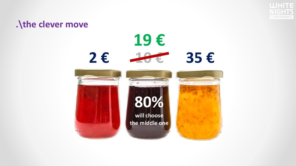 .\the clever move 2 € 10 € 35 € 80% will choose...