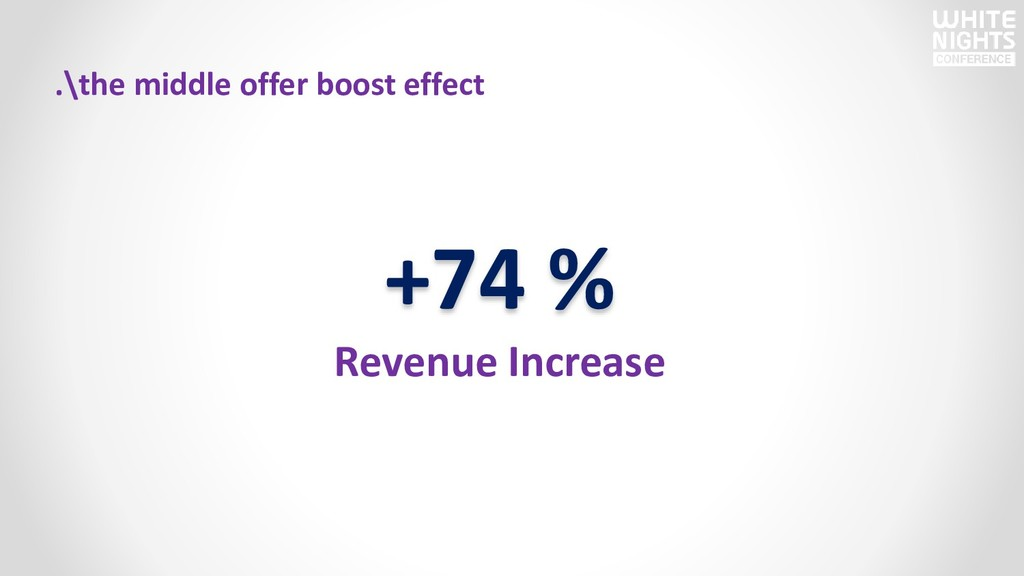 +74 % Revenue Increase .\the middle offer boost...