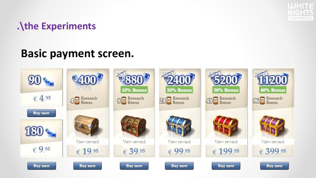 Basic payment screen. .\the Experiments
