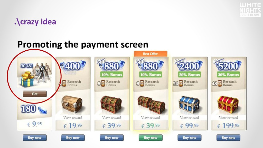 .\crazy idea Promoting the payment screen