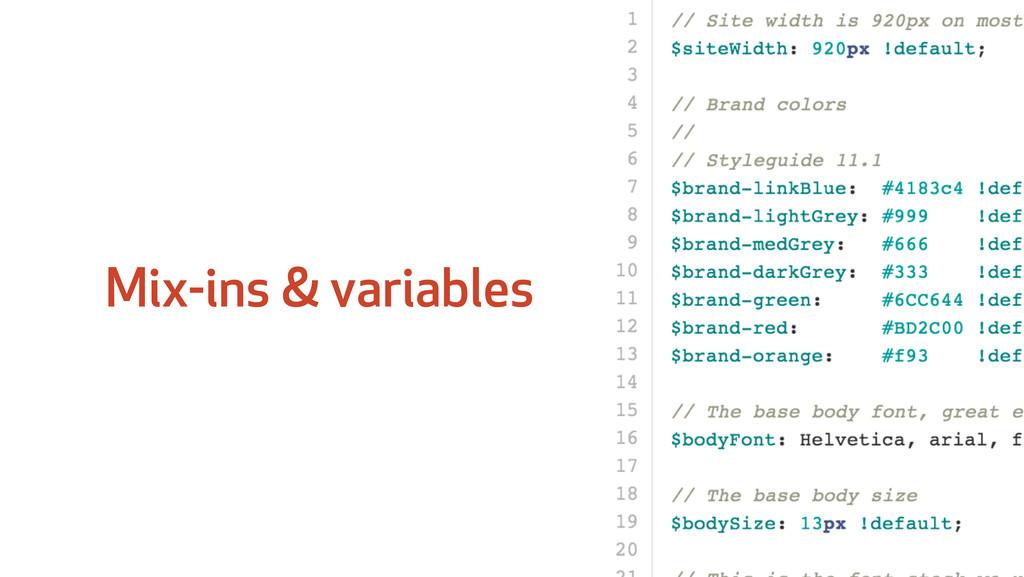 Mix-ins & variables
