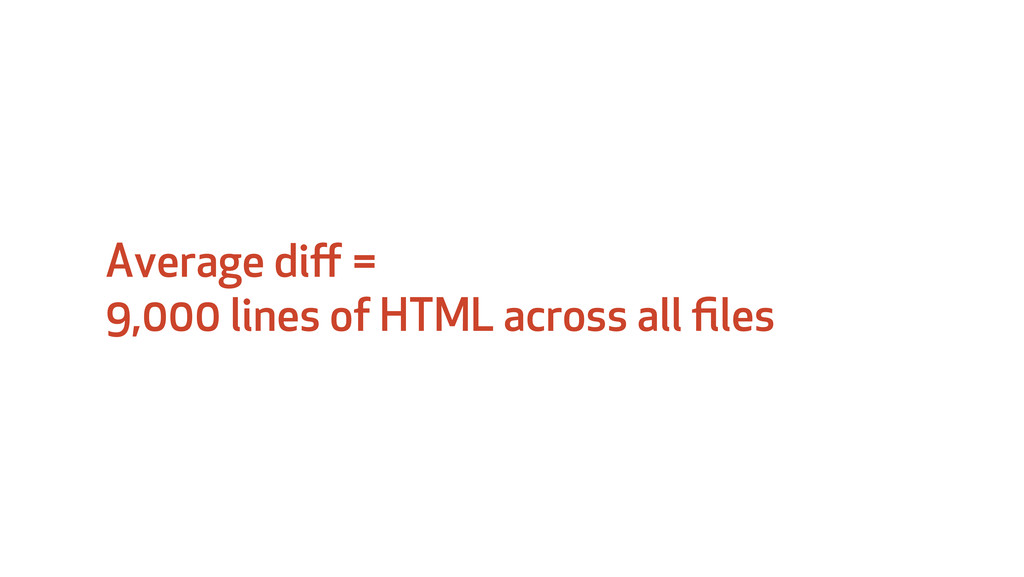 Average diff = 9,000 lines of HTML across all fil...